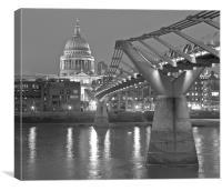 Millenium Bridge and St Pauls at night, Canvas Print