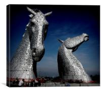 down at the kelpies   , Canvas Print