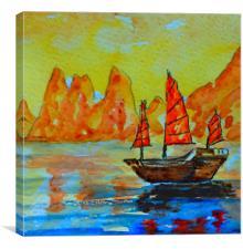 chinese landscape-li river, Canvas Print