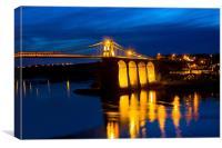 Blue Menai Bridge, Canvas Print