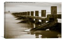 Black and White of Groyne at Aberdeen Beach, Canvas Print