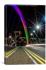 Light trails over Glasgow's Squinty Bridge, Canvas Print