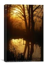 Sunrise with reflections, Canvas Print
