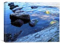 Rocks in Lake, Canvas Print