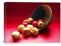 Tumbling Apples on Red Background, Canvas Print