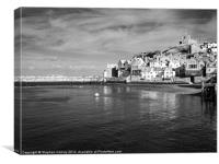 Whitby Monastery in Black and White, Canvas Print
