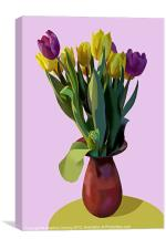 Vase of Yellow and Purple Tulips, Canvas Print
