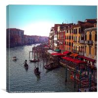 Gondolas on the Grand Canal, Canvas Print