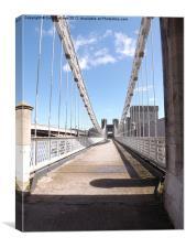 Down the Conwy suspension bridge, Canvas Print