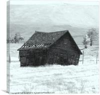 Settler cabin in Winter, Canvas Print