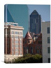 Multi generational Buildings in Dallas Texas, Canvas Print