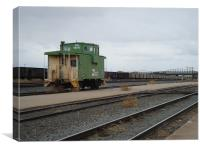 Caboose in green, Canvas Print