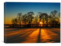 Sunset on snow Kinross, Canvas Print