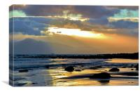 Arran from Seamill Beach at Sunset, Canvas Print