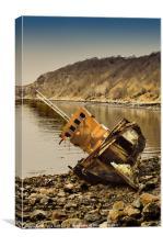Wreck on Highland Beach at Diabaig, Canvas Print