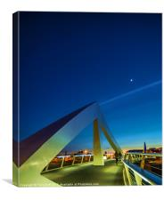The Squiggly Bridge over the Clyde by Moonlight, Canvas Print