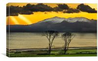 Sunset over Arran from Portencross, Canvas Print