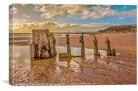 Groynes on Seamill Beach, Canvas Print