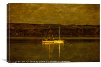 Two Yachts by Moonlight in Fairlie Bay, Canvas Print