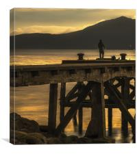 Angler on Pier at Portencross, Canvas Print