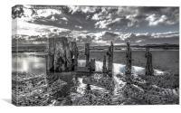 Groynes on Seamill Beach Monochrome, Canvas Print