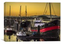 Irvine Harbour at Sunset, Canvas Print