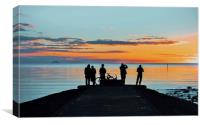 Silhouettes of Strangers at Sunset, Canvas Print