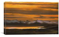 Arran Cumbrae and Bute Sunset, Canvas Print