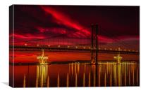 Fiery Sunset over Forth Road Bridge, Canvas Print