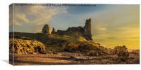 Sunset Over Dunure Castle Ayrshire, Canvas Print