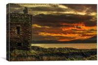 Arran Sunset From Portencross Castle, Canvas Print