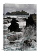 Crashing Wave, Godrevy Lighthouse, St Ives Bay, Co, Canvas Print