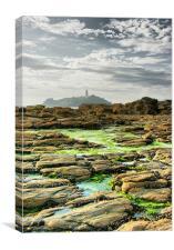 Godrevey Rocks & Lighthouse, St Ives Bay, Cornwall, Canvas Print