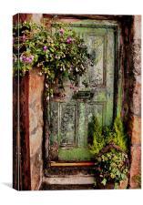 Green Door, Virgin Street, St Ives, Cornwall, Canvas Print
