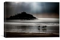 Horses at Dusk, St Michaels Mount, Canvas Print