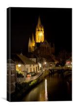 Truro Cathedral by Night, Canvas Print