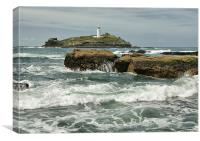 Godrevy Lighthouse, St Ives Bay, Cornwall, Canvas Print