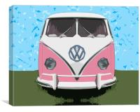 The VW Pink Peace & Love Bus, Canvas Print
