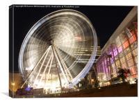 Nightime Manchester Big Wheel, Canvas Print