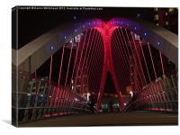 Downlit Bridge in Red, Canvas Print