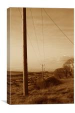 Western Look Electrical Poles, Canvas Print