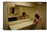 Topless Mirror Reflection Horror in the Ladies Res, Canvas Print