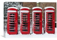 Phone boxes in the snow, Canvas Print
