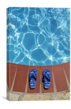 Flip flops by the pool, Canvas Print