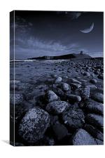 Dunstanburgh Castle with crescent moon, Canvas Print