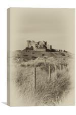 Bamburgh Castle vignette, Canvas Print