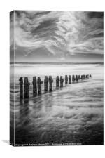 Breakwater and clouds, Canvas Print