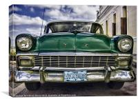 Old green Chevy, Canvas Print