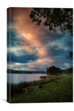 Esthwaite Water sunset, Canvas Print