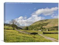 Muker meadows blue sky, Canvas Print